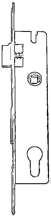 drawing of a mortice lock with 25mm set back