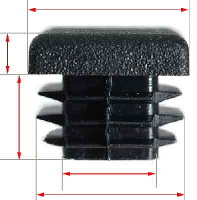 13mm square flat black plastic cap