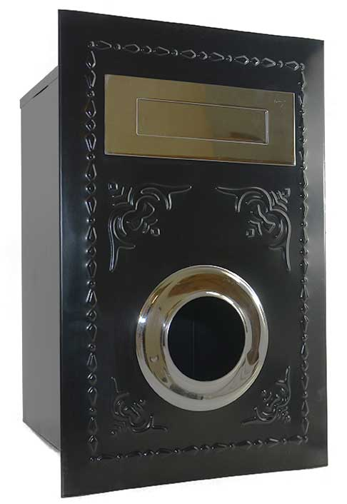 Decorated Short Letter Box black