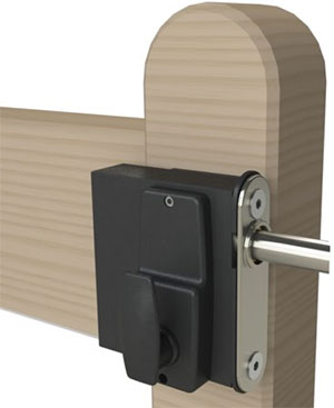 Gatemaster surface mounted digital lock rear view