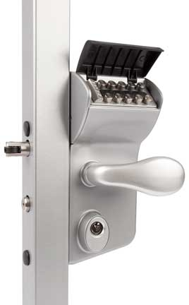mechanical coded lock showing the press buttons