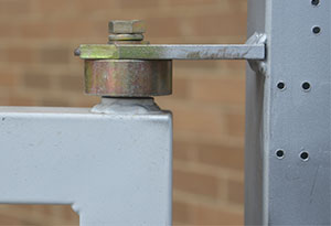 heavy gate hinge welded on top of gate