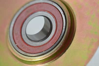 close up of a single bearing sliding gate wheel