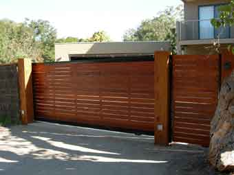 timber sliding gate front view
