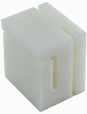 White sliding block for sliding gates